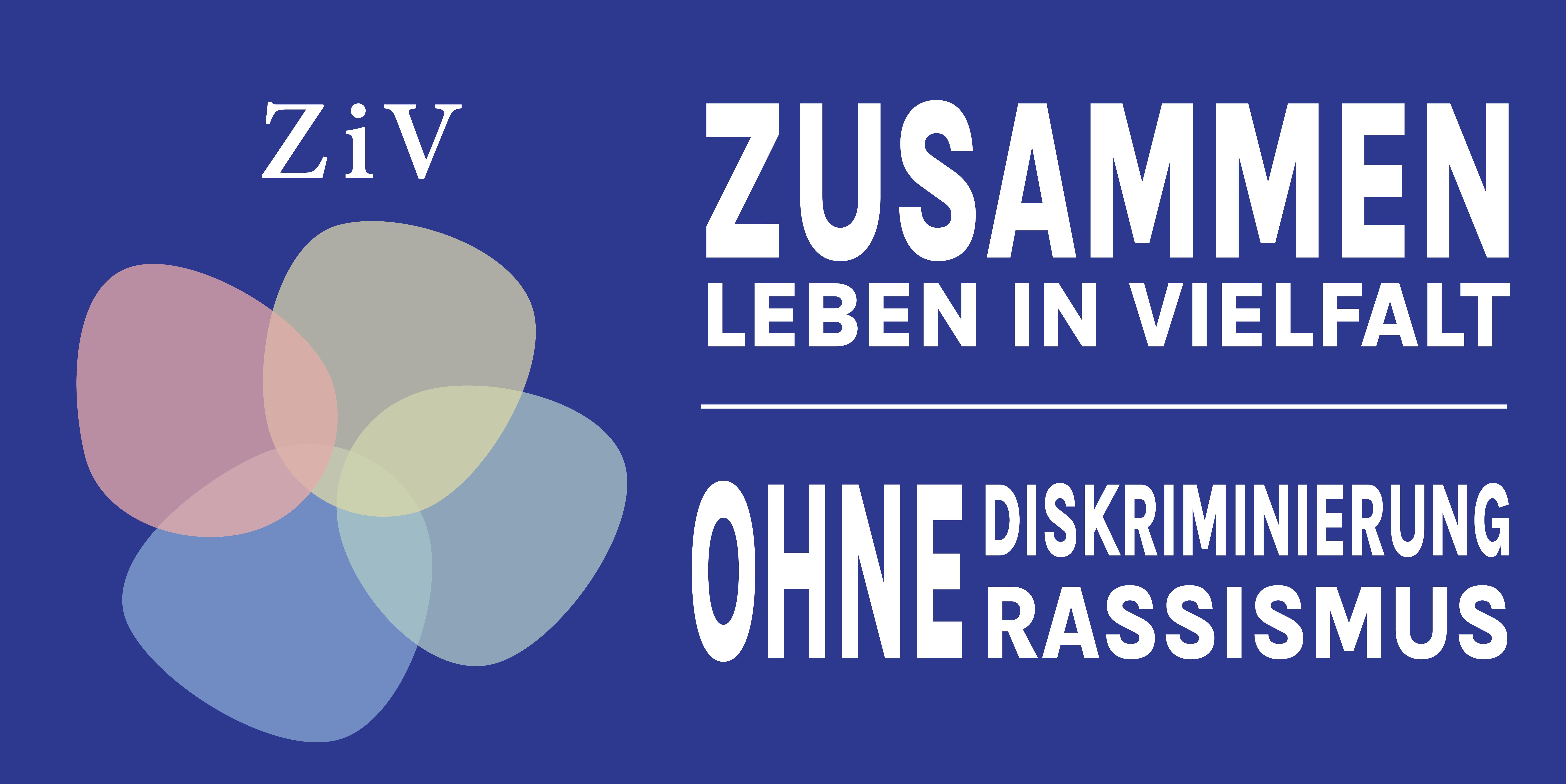 Logo mit vier bunten Flecken und Schrift Zusammenleben in Vielfalt